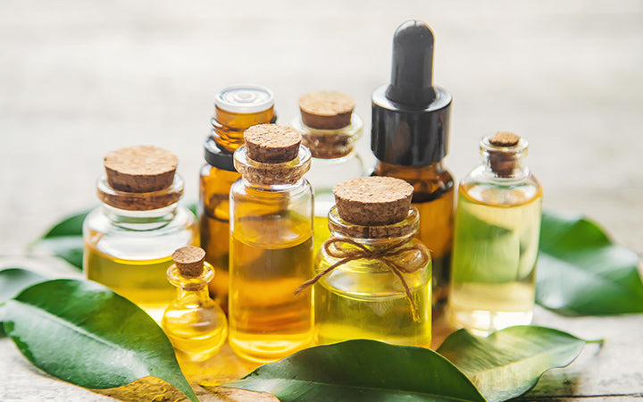 Tea tree essential oil in a small bottle