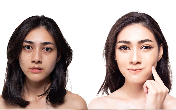 dull skin and bright skin comparison of woman's face