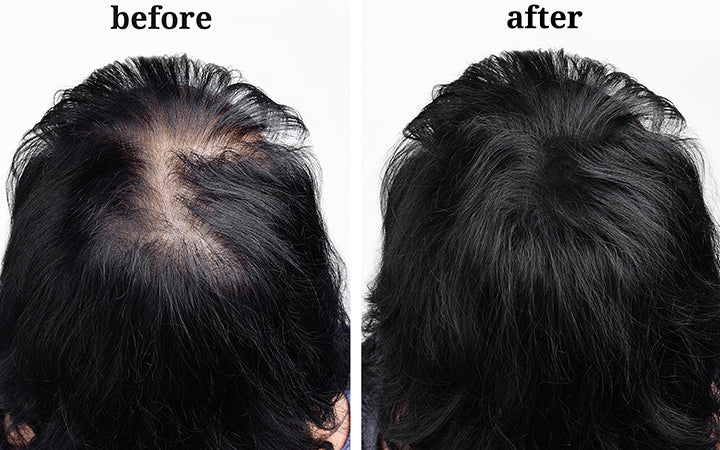 hair after using cosmetic powder for hair thickening