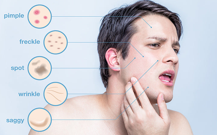 men with multiple skin problems