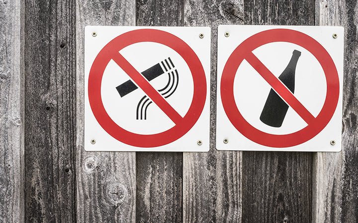 restriction signs of smoking and alcohol