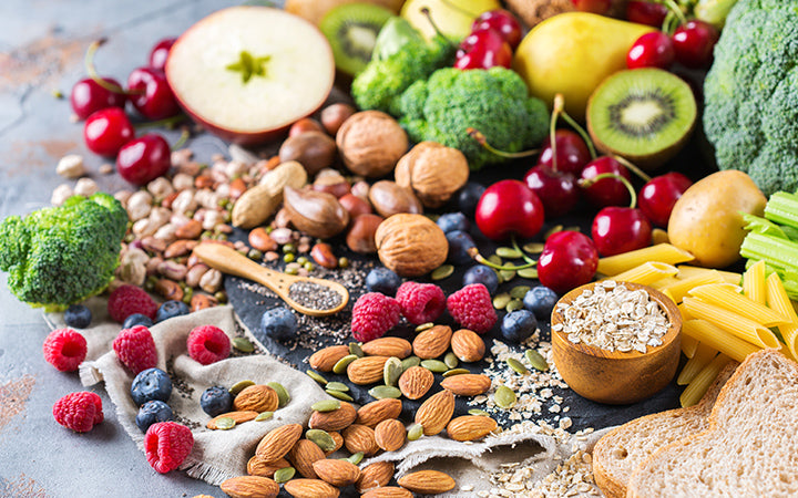 selection of rich fiber sources and vegan food