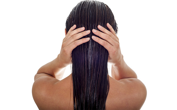 woman with long wet hair