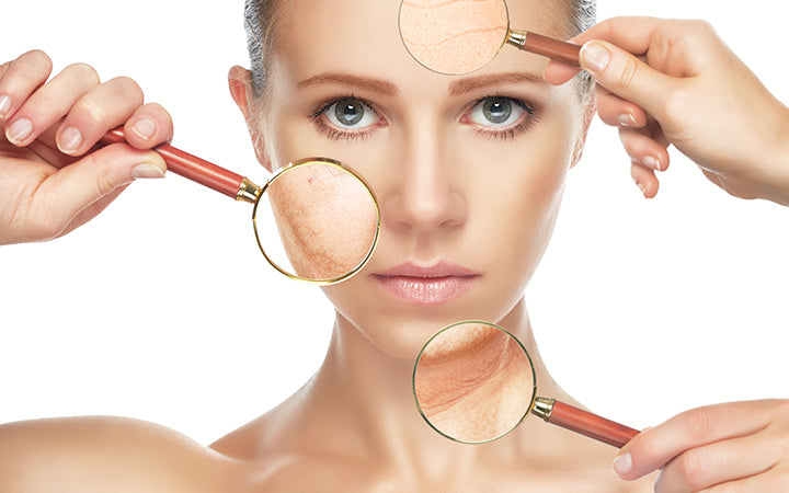 women's face with multiple aging problems