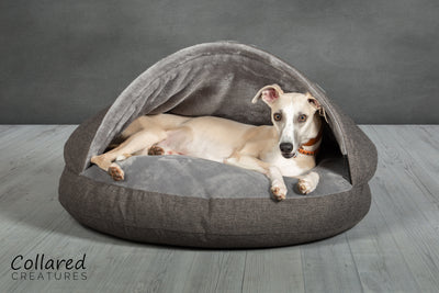 All Sizes of Grey and Tweed Classic Dog Cave Bed back in stock