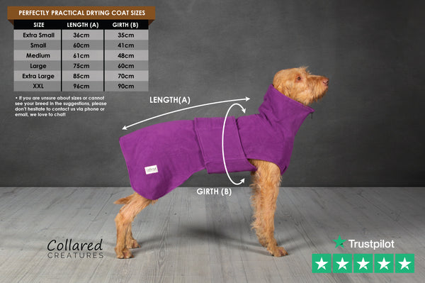 dog drying coat by collared creatures with size guide and instructions