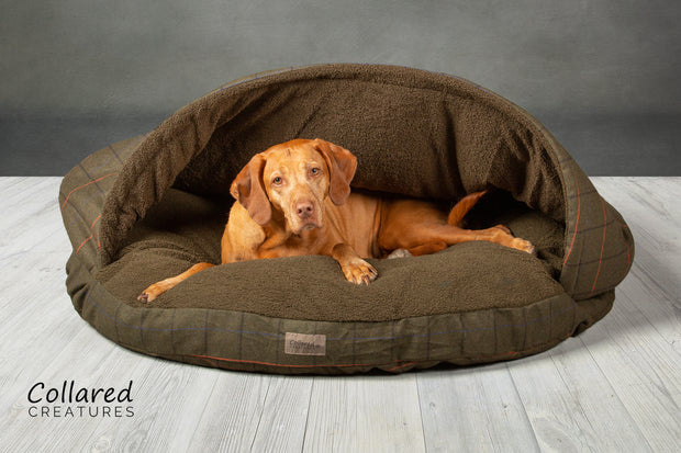 Green Tweed Classic Dog Cave Bed - Collared Creatures