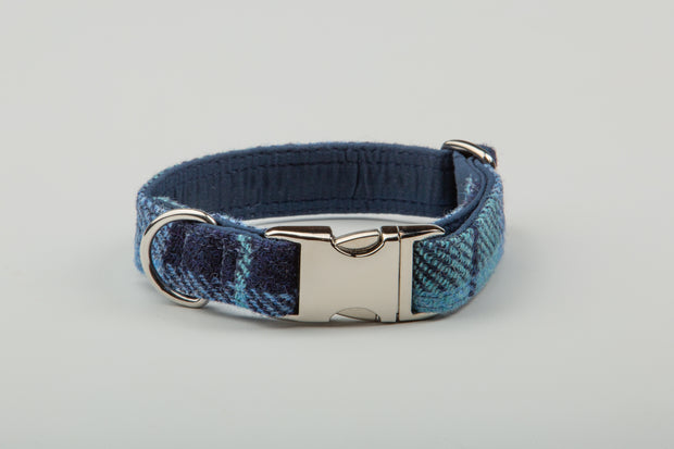 Blue large  Check Harris Tweed Dog Collar - Collared Creatures