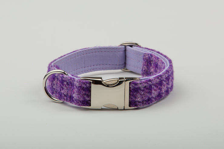 Perfect Purple & Lilac Check Harris Tweed - Collared Creatures