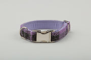 Charcoal & Lilac Check Harris Tweed Dog Collar - Collared Creatures