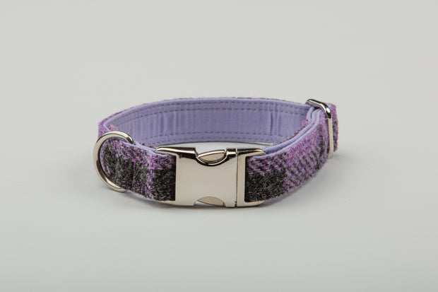 Charcoal & Lilac Check  Harris tweed - Collared Creatures