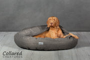 Grey Classic Comfort Cocoon Dog Bed (cushion base) - Collared Creatures