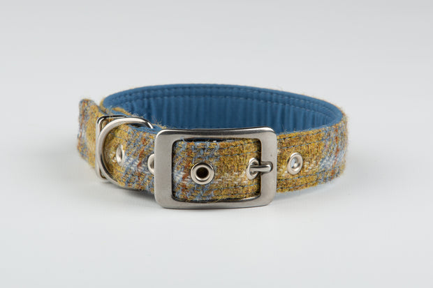 Collared Creatures Mustard and blue Harris tweed luxury dog collar