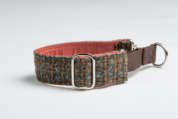 Brazen Brown & Orange Harris Tweed Check - Collared Creatures