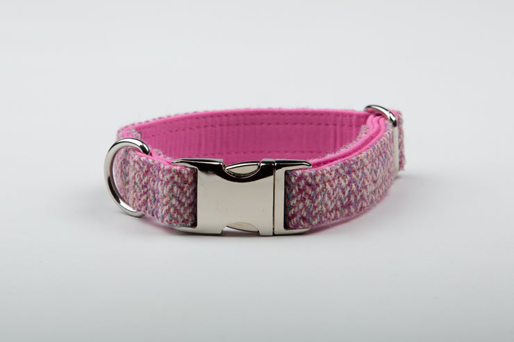 Rose Pink Herringbone Harris Tweed Dog Collar - Collared Creatures