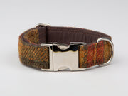 Autumnal Check Harris Tweed  Dog Collar - Collared Creatures