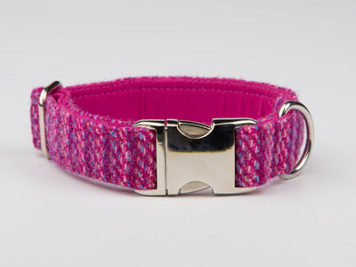 Collared Creatures Pink Koana Harris Tweed Luxury Gog Collar