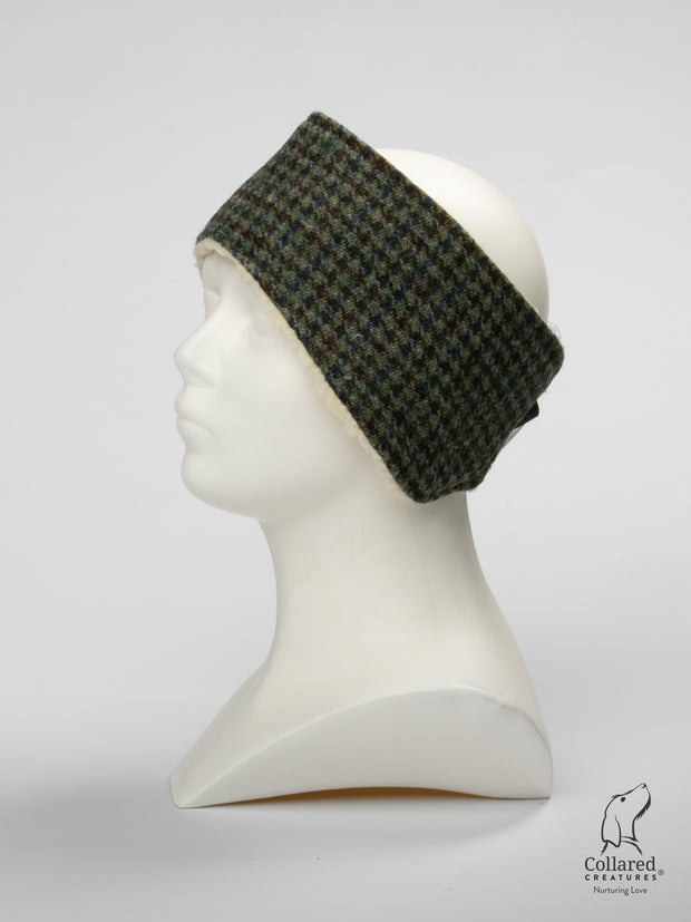 Product photo of Collared Creatures Autumn Houndstooth Ladies Harris Tweed Headband
