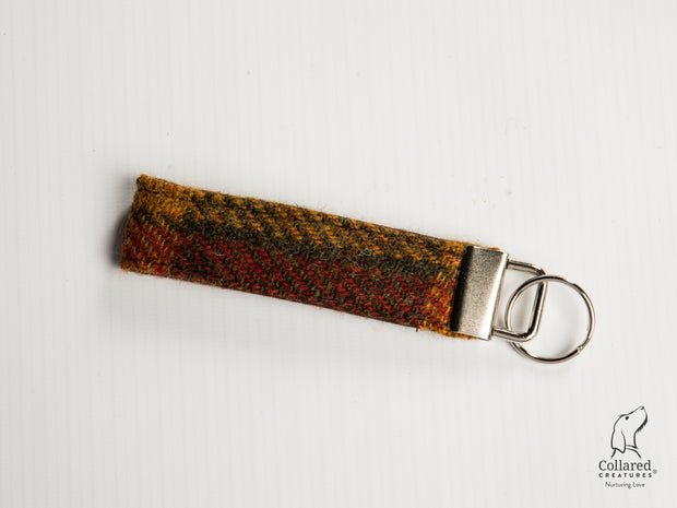 Collared Creatures Autumnal Check Harris Tweed Luxury Keyring