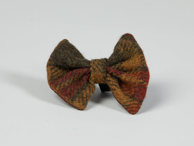 Collared Creatures Autumnal Check Luxury Harris Tweed Dog Bow Tie
