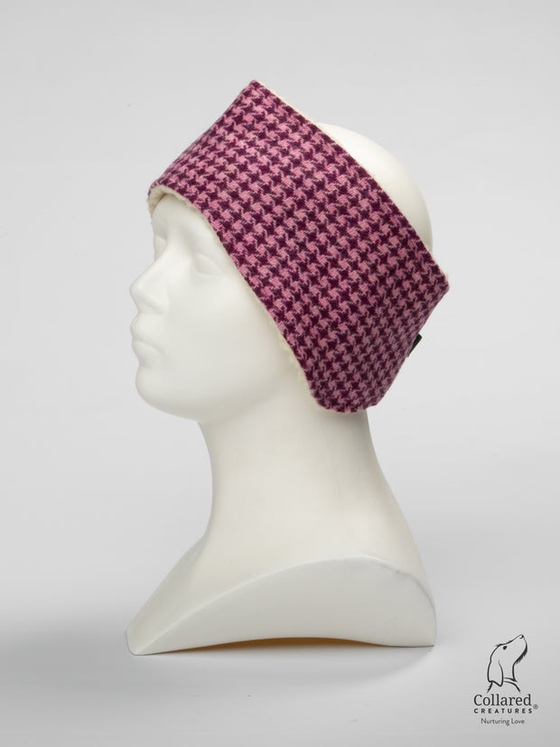 Product photo of Collared Creatures Byzantine Houndstooth Ladies Harris Tweed Headband