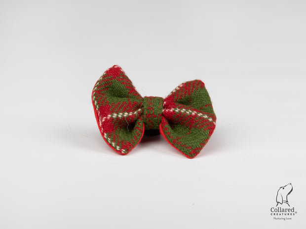 Product photo of Collared Creatures Christmas Check Luxury Harris Tweed Dog Bow Tie