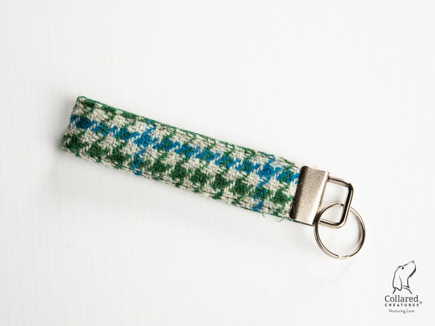 Collared Creatures Forest Green & Blue Houndstooth Luxury Handmade Harris Tweed Keyrings / Key Fobs