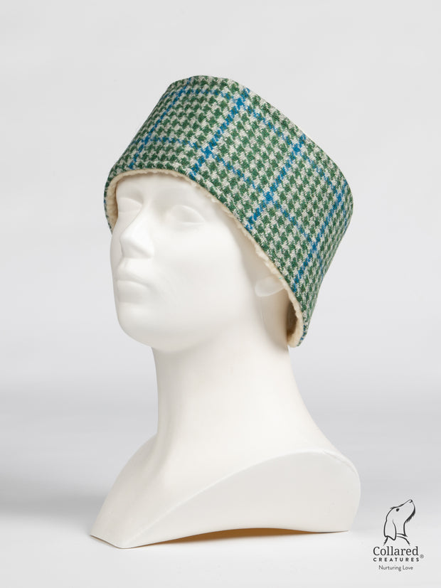 Collared Creatures Forest Green & Blue Houndstooth Harris Tweed Ladies Headband