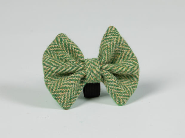 Collared Creatures Green Herringbone Luxury Harris Tweed Dog Bow Tie