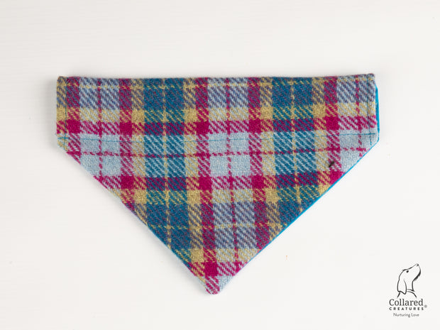 Collared Creatures Mulberry & Turquoise Check Luxury Harris Tweed Dog Bandana