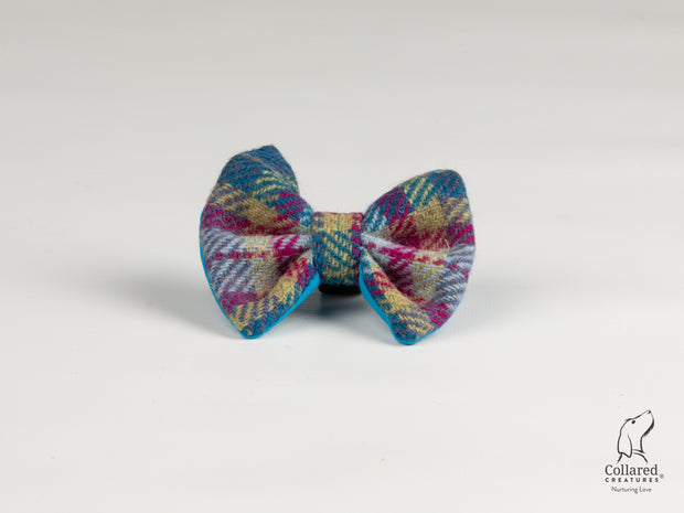 Collared Creatures Mulberry & Turquoise Check Luxury Harris Tweed Dog Bow Tie