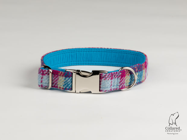 Collared Creatures Mulberry & Turquoise Check Harris Tweed Luxury Dog Collar