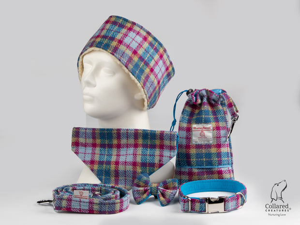 Collared Creatures Mulberry & Turquoise Check Harris Tweed Luxury collection photo