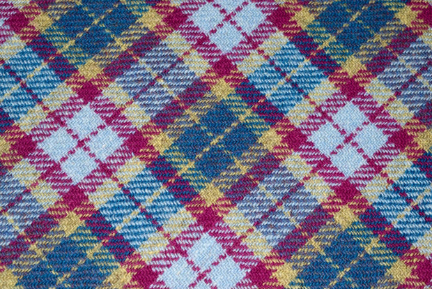 Mulberry & Turquoise Check Harris Tweed fabric