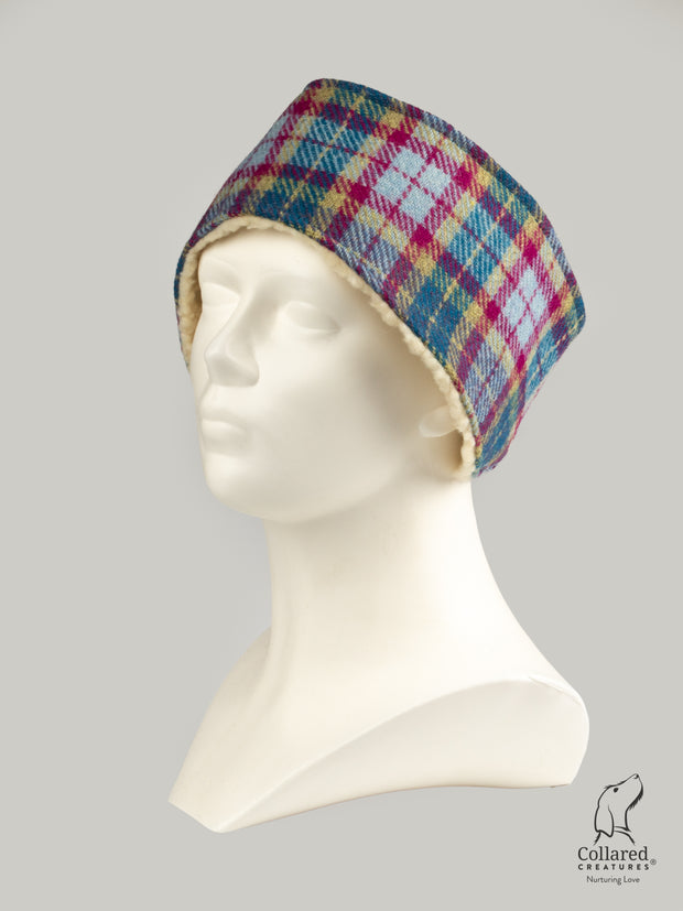 Collared Creatures Mulberry & Turquoise Check Ladies Harris Tweed Headband