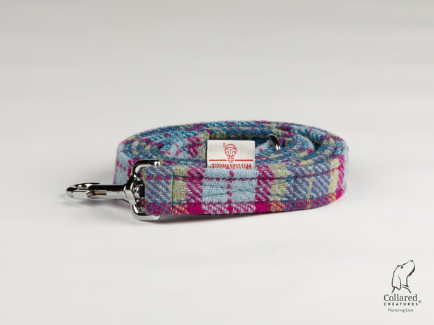 Collared Creatures Mullberry & Turquoise Check Harris Tweed Luxury Dog Lead