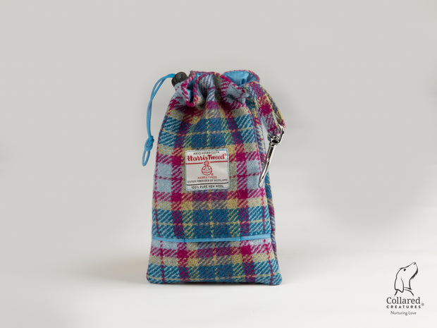 Collared Creatures Mulberry & Turquoise Check Harris Tweed Luxury Dog Treat Bag