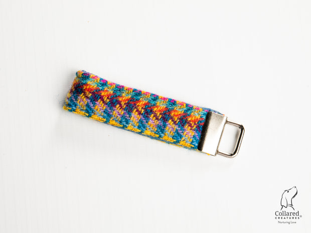 Collared Creatures Multi Check Luxury Handmade Harris Tweed Keyrings / Key Fobs