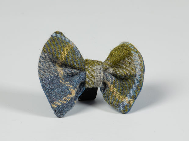 Collared Creatures Mustard & Blue Check Luxury Harris Tweed Dog Bow Tie