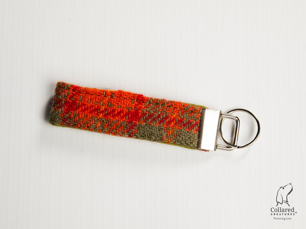 Collared Creatures Orange & Olive Check Luxury Handmade Harris Tweed Keyrings / Key Fobs