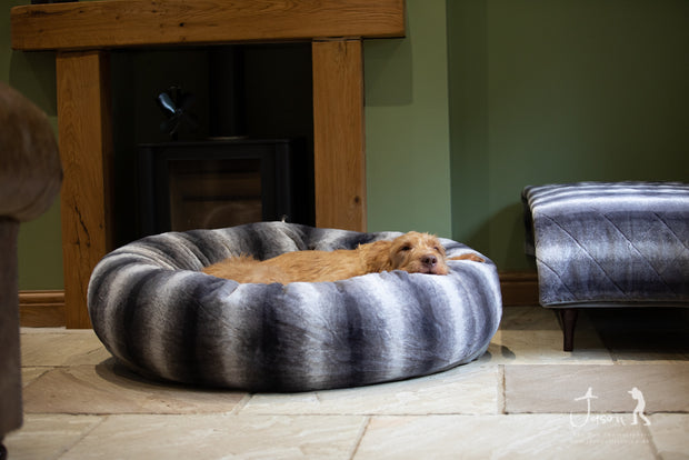 Grey Luxury Deluxe Donut Dog Bed