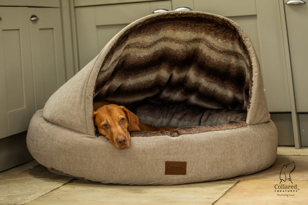 Beige Luxury Deluxe Comfort Cocoon Dog Bed
