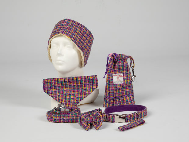 Collared Creatures Purple Breeze Harris Tweed Luxury Dog Accessories Collection