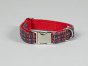 handmade-harris-tweed-dog-collar-blue-kaleidoscope|collaredcreatures