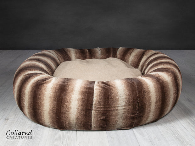 Collared Creatures gorgeous, luxury  brown deluxe donut dog bed