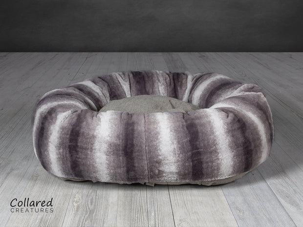Collared Creatures luxury grey deluxe donut dog bed
