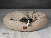 Beige luxury comfort cocoon Dog Bed | Collared Creatures