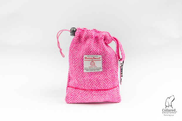 product photo of collared creatures magenta & white fleck Harris tweed treat bag