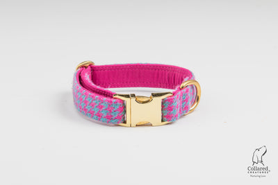 Turqouise And Pink Houndstooth Harris Tweed Luxury Dog Collar