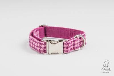 Byzantine Houndstooth Check  Harris Tweed Dog Collar
